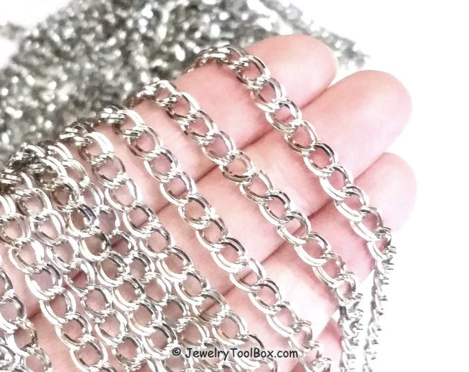 Stainless Steel Jewelry Chain, Double Link Chain, Bulk Jewelry Making Chain, Open Link Chain, 6x5x2mm, Lot Size 1 to 15 Feet, #1949