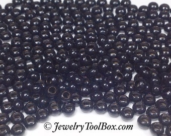 Metal Seed Beads, 6/0, Size 6, BLACK Plated, 3x4mm, Brass Spacer Beads, Made In The USA, Lead Free, Lot Size 28 grams, #1404