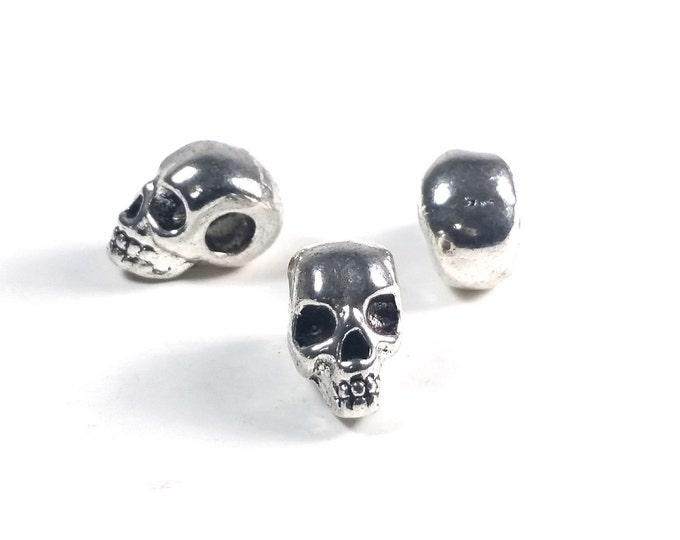 Large Hole Skull Beads, Metal Big Hole Beads, Antique Silver Pewter, 8x12mm, 4mm Hole, Lead Free, Lot Size 4 to 20, #1363 BH