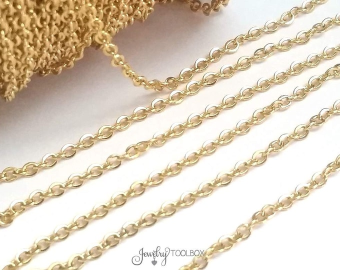 Gold Stainless Steel Chain, Bulk Jewelry Making Chain, Fine Chain, Oval Links, Non Tarnish, 3x2mm Links, Lot Size 2 to 20 feet, #1909 G