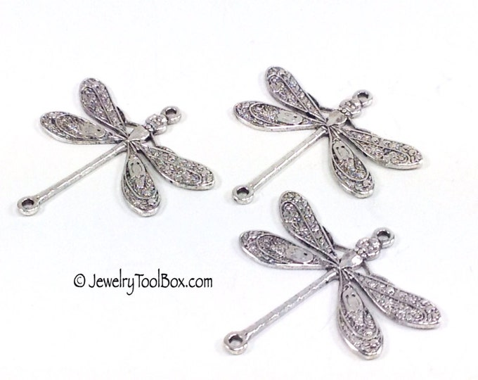 Dragonfly Pendant Charms Connector, 24x24mm, 2 Loops, Antique Silver, Large, Made in USA, Lead Free, Nickel Free, Lot Size 6 to 20, #05S