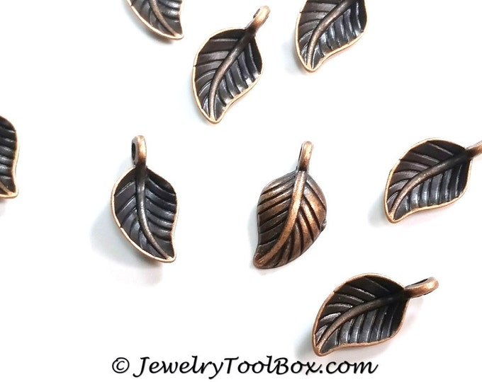 Tiny Leaf Charms, Antique Copper, Nickel Free, Lead Free, 14x7x2.5mm, 1.5mm Loop, Lot Size 25 to 50, #0943