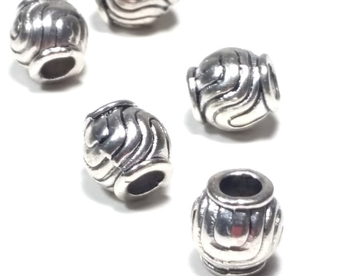 Big Hole Barrel Beads, Antique Silver Metal Alloy, Curvey Lines Design, 9x9mm, 4mm Hole, Lead Free, Nickel Free, Lot Size 14 to 35, #1556 BH