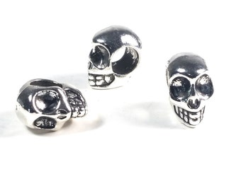 Skull Beads, Metal Extra Large Hole Beads, Antique Silver Pewter, 8x13mm, 5mm Hole, Lead Free, Lot Size 4 to 20, #1364 BH