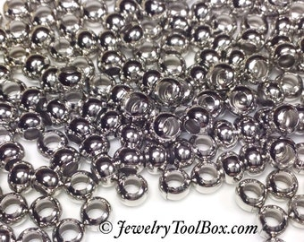 Metal Seed Beads, 6/0, Size 6, NICKEL Plated, 3x4mm, Brass Spacer Beads, Made in the USA, Lead Free, Lot Size 31 grams, #1409