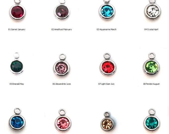Birthstone Charms, Stainless Steel Setting, Glass Rhinestones, 8x6x3mm, 1.5mm Loop, Lot Size 6, #1950