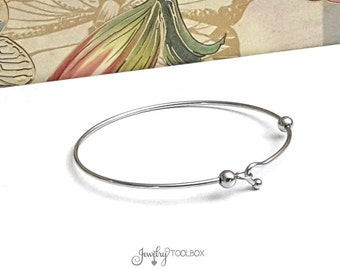 Minimalist Charm Bracelet Blank, Stainless Steel Bangle, Simple Bracelet, Jewelry Making Supplies, 60mm, 1.8mm thick, #1802