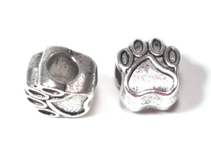 Paw Print Bead, 30 Beads Large Hole Animal Bead, Antique Silver Metal, 11x11x8mm, 5mm Hole, Lead Free, #1550 BH