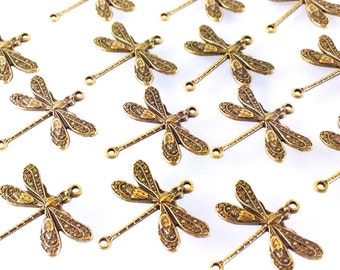 Dragonfly Pendant Charms Connector, 18x17mm, 2 Loops, Antique Brass, Small, Made in the USA, Lead & Nickel Free, Lot Size 4 to 24, #02B