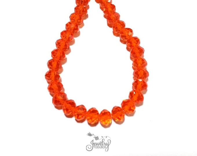ORANGE Crystal Rondelles, Faceted Glass Abacus Beads, 16 to 24 inch Strands, Choose Bead Size 6x4mm, 8x6mm, 10x7mm, 12x8mm, Hole 1mm