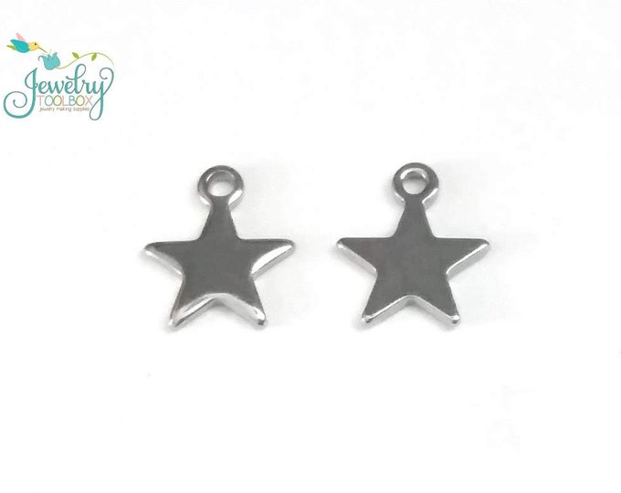 Star Charms, Tiny, Stainless Steel, 10x8.5x1mm, Hypoallergenic, Non Tarnish, Lot Size 10 to 30, #1606