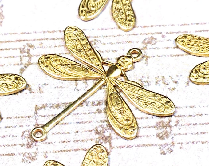 Dragonfly Pendant Charms Connector, 24x24mm, 2 Loops, Raw Brass, Large, Made in the USA, Lead Free, Nickel Free, Lot Size 6 to 20, #05R