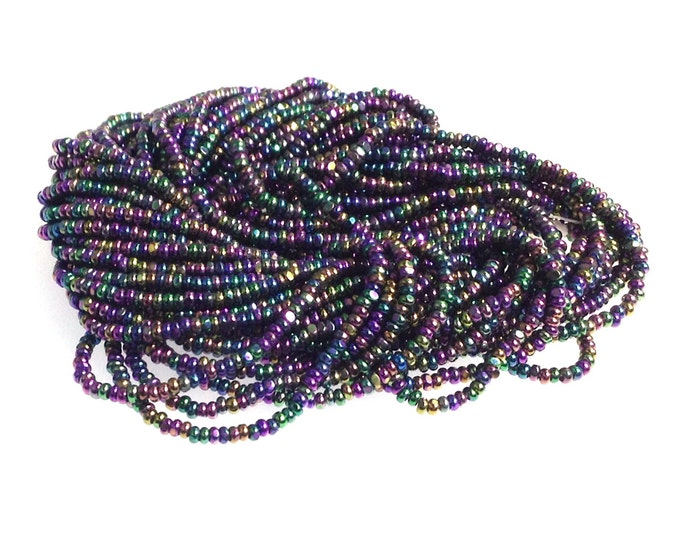 True Cut Seed Beads, Purple Iris Charlottes, Metallic, Size 13, Full Hank, 12 Strands, Vintage