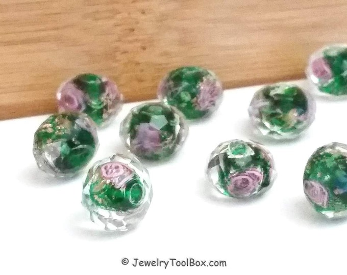 Green Crystal Beads,  Crystal Flower Inside Beads, Faceted Crystal Rondelles, Rose Flower Inside Beads, 11x9mm, Hole 2mm, Lot Size 14