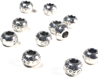 Rondelle Beads, Sun Symbol, Large Hole Beads, Antique Silver Pewter, 5x7mm, 4mm Large Hole, Lead Free, Lot Size 14 to 50, #1371 BH