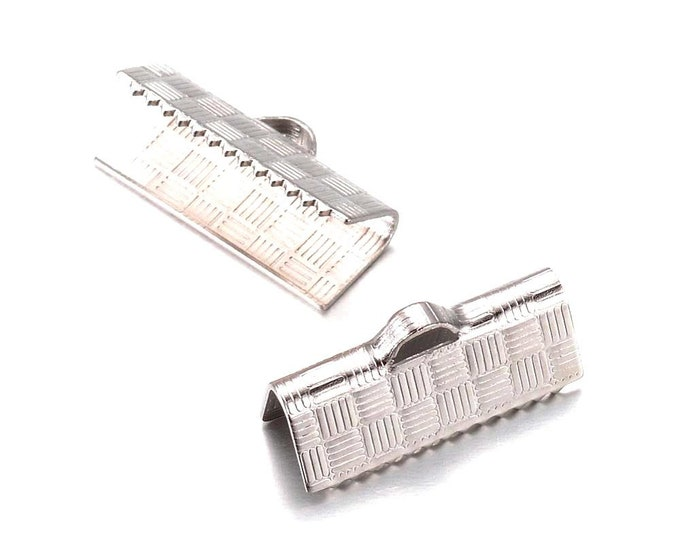 Ribbon End Clamps, Stainless Steel Crimp Fasterners, 15mm (5/8 inch approx), Terminator Finding, Finishing Leather Jewelry Supplies, #1637