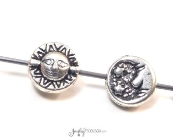 Sun, Moon and Stars Beads, Flat Round Metal Beads, Antique Silver Pewter, Double Sided, 7mm, Less than 1mm Hole, Lot Size 10 to 40, #1339