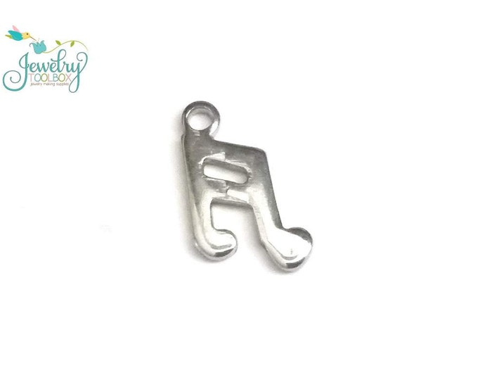 Musical Note Charms, 30 Pieces, Stainless Steel, Tiny Drop, 12x8x1mm, Hypoallergenic, Non Tarnish, #1608