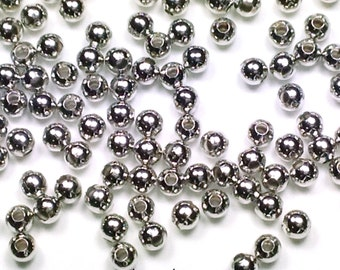 Brass Beads, 4mm Round Smooth Seamed Spacers, Platinum color, 1.5mm Hole, Lot Size 100 to 500