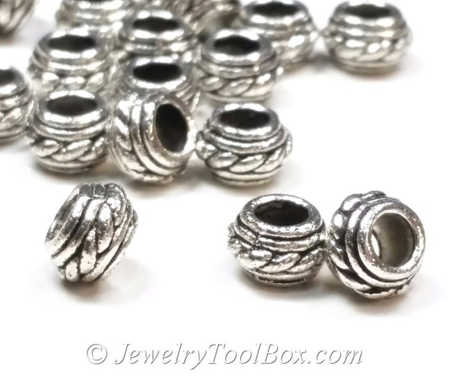 Silver Pewter Spacer Beads, 5x7mm, 4mm hole,Antique Silver Finish, Lead Free, Lot Size 50 Beads,  #1223 BH