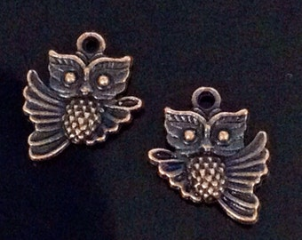 Copper Owl Charms, Antique Copper Owls, Double Sided, Lead Free Charms, Nickel Free Findings, 18x15x3mm, 2mm Loop, 12 to 50, #1502 R NF