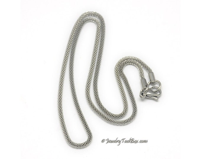 Necklace Chain with Lobster Clasp, Stainless Steel. Lantern Weave, 20 Inches (approx), 2mm Thick, Lot Size 1 to 5,  # 043
