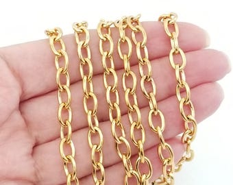 Thick Gold Stainless Steel Jewelry Making Chain, Bracelet Chain, 9x6x1.5mm Lot Size 2 to 30 Feet,  #1932 G