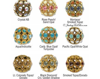 Encrusted Filigree Beads, Antique Gold Plated Brass with Swarovski Elements, 30 Colors Selection, 13mm Round, Priced per bead