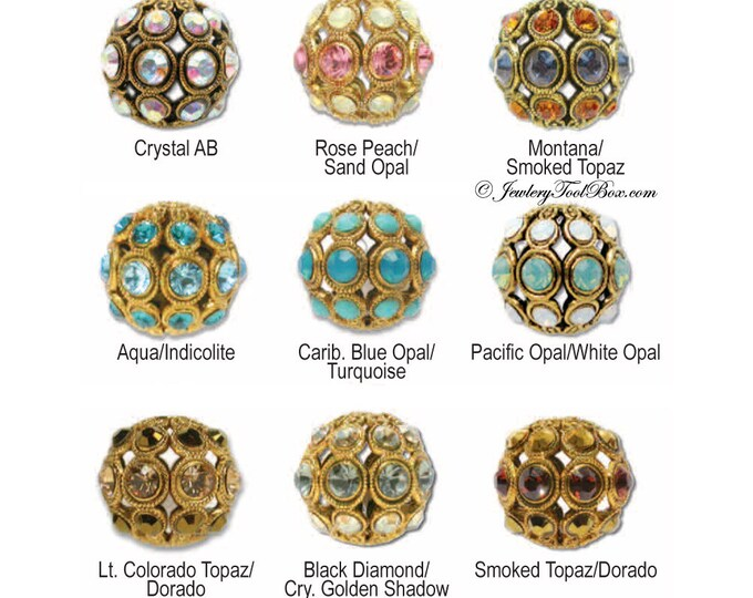 Encrusted Filigree Beads, Antique Gold Plated Brass with Swarovski Elements, 30 Colors Selection, 8mm Round, Priced per bead