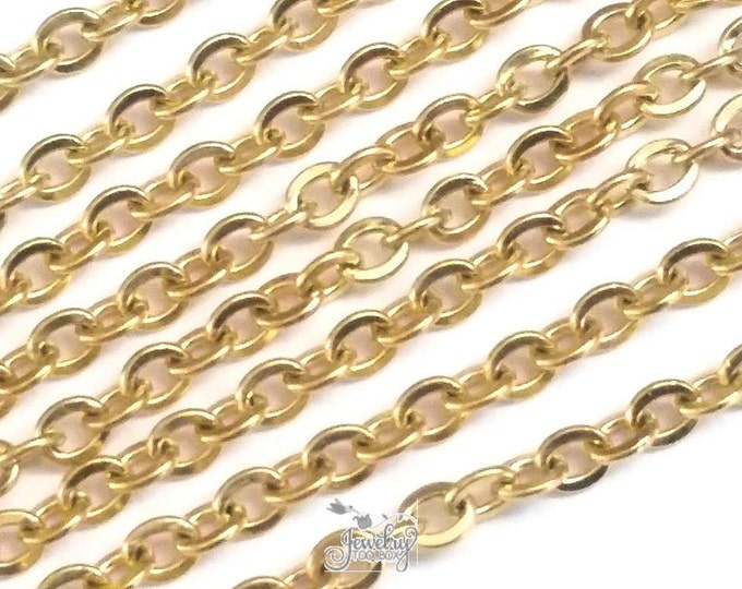 Stainless Steel Chain, Gold Chain, Bulk Jewelry Chain, Oval Links, Fine 3x2.5mm, Flat, Lot Size 2 to 20 feet #1904 G