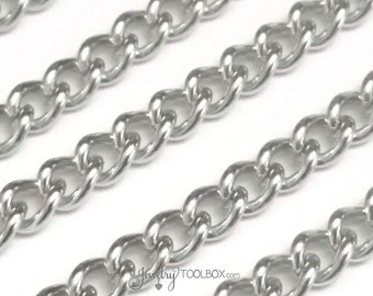 Stainless Steel Jewelry Chain, Twist Chain, Bulk Supplies, Jewelry Making, Non Tarnish Findings,  6x4.5x1.2mm Lot Size 2 to 20 Feet,  #1930