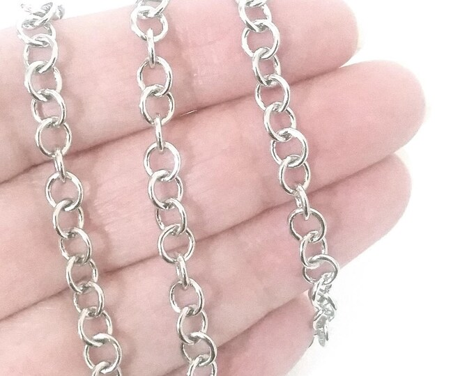 Round Stainless Steel Jewelry Chain, Soldered Closed Links, Bulk Jewelry Supplies, 5.5mm Diameter, 1mm Thick, Lot Size 2 to 20 feet, #1952