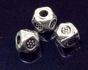 3mm Metal Beads, Hexagon Beads Cube Beads, Antique Silver Finish Pewter, Approx 1.5mm Hole, Lead Free, Lot Size 100, #1193