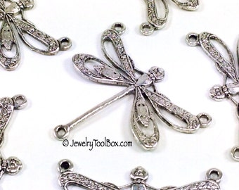 Filigree Dragonfly Necklace Connector, 22x25mm, 3 Loops, Antique Silver, Large, Made in the USA, Lead & Nickel Free, Lot Size 4 to 10, #10S