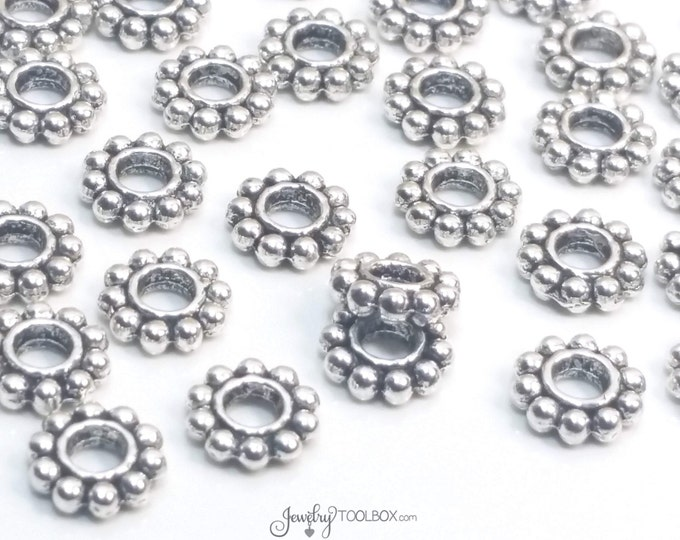 BIg Hole Daisy Spacer Beads, Large Hole Beads, Antique Silver Metal Beads, 7x2mm, 2.5mm Large Hole, Lead Free, Lot Size 25 to 50, #1316 BH