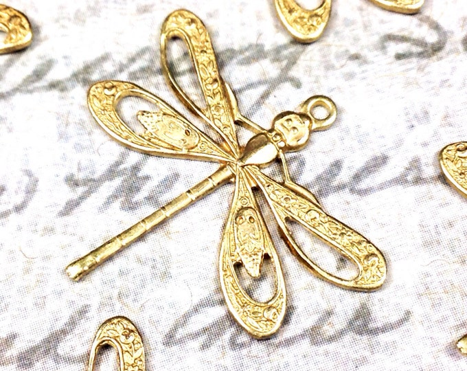 Filigree Dragonfly Charms, Pendant, 21x24mm, 1 Loop, Raw Brass, Large, Made in the USA, Lead Free, Nickel Free, Lot Size 6 to 20, #08R