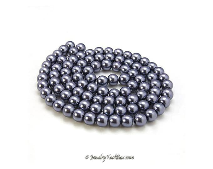 Pearl Bead Strands, Dark Slate Gray, Pearlized Glass, Round, 36 inch Strand, Choose 4mm, 6mm, 8mm, 10mm, Hole 1mm
