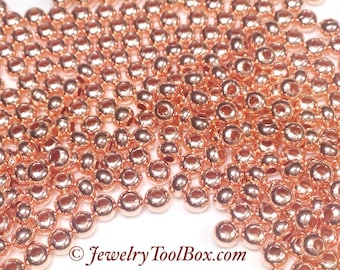 Metal Seed Beads, 8/0, Size 8, COPPER Plated, 2x3mm, Brass Spacers, Made in the USA, Lead Free, Lot Size 38 grams, #1430