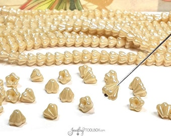 Beige Baby Bellflower Beads, Luster Opaque Beige Czech Glass Bead Cap, Bell Flower Beads, 4x6mm Flower, Lot Size 50 Beads, #4003