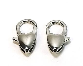 20mm Heart Lobster Clasp,  Stainless Steel 20x11x5mm, Necklace Bracelet Clasps, Non-Tarnish,  Lot Size 1 Clasp, #1360