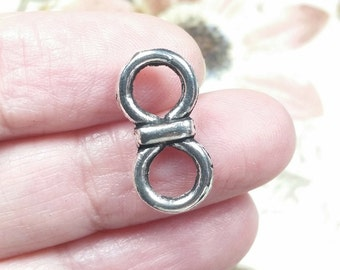 Infinity Connector Links, Pewter, Double Sided, Silver Tone, Lead Free, 20x10mm, Lot Size 8 to 50, #1138