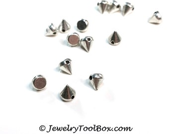 Spike Beads, Silver Pewter, 5x6mm, 1.5mm Hole, Lead Free, Lot Size 25 to 60, #1263