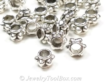 Rondelle Beads, Silver Pewter Spacers, 4x6mm, 2.8mm hole, Antique Silver Finish, Lead Free, Lot Size 25 to 50,  #1225 BH