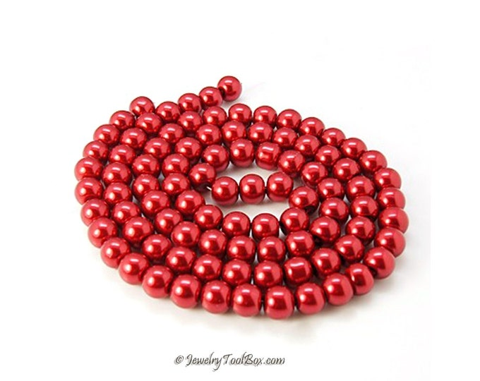 Red Pearls, Glass Bead Strands, Pearlized Round Glass, 36 inch Strand, Choose 4mm, 6mm, 8mm, 10mm, Hole 1mm