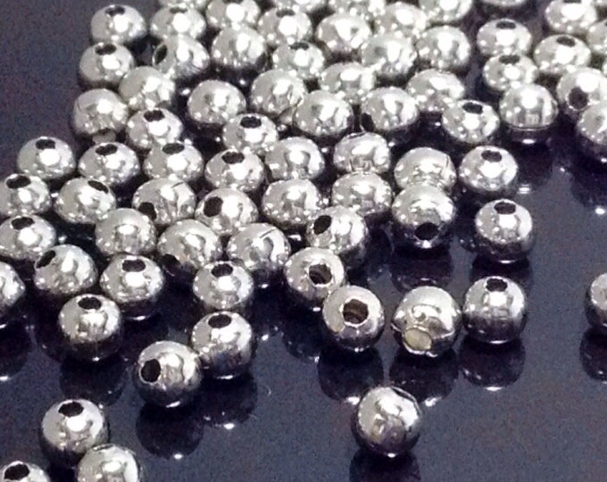4mm Beads, Stainless Steel, Round, 1mm Hole, 304 Grade Stainless, Hypoallergenic, Non Tarnish, Lot Size 25 to 200, #1511