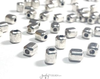 Silver Barrel Beads, Antique Silver Pewter Extra Large Hole Beads, Metal Beads, 6x7mm, 3mm Hole, Lot Size 10 to 50, #1347 BH
