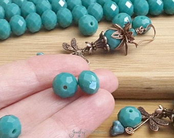 DARK TURQUOISE Crystal Rondelle Beads, Opaque Green Turquoise Faceted Glass Abacus Beads, 10x7mm, Hole 1mm, Lot Size 10 to 36 Bds, #1007 GT