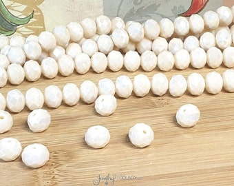 CREAM Crystal Rondelle Beads, Opaque Cream Faceted Glass Abacus Beads, 10x7mm, Hole 1mm, Lot Size 36 Bds, #1007 CR