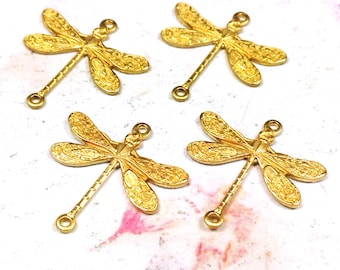 Dragonfly Pendant Charms Connector, 18x17mm, 2 Loops, Raw Brass, Small, Made in the USA, Lead Free, Nickel Free, Lot Size 4 to 24, #02R