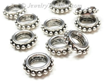 Silver Pewter Rondelle Beads, Extra Large 8mm hole, 13x3mm, Bali Look, Antique Silver Finish, Lead Free, Lot Size 12 to 40,  #1230 BH